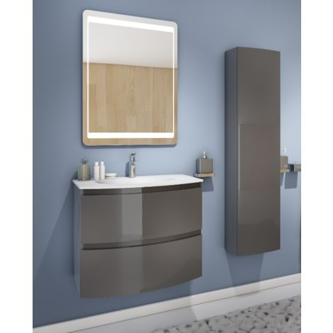 Badezimmer Badmöbel 70 cm Atene aus glänzend Grau Holz mit ...