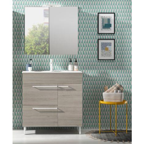 Badezimmer Badmöbel 70 cm aus Grau sandgestrahlt Holz mit ...