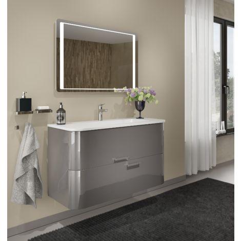 Badezimmer Badmöbel 80 cm Apollo aus Glänzend Grau Holz mit ...