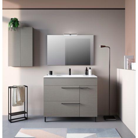 Badezimmer Badmöbel 80 cm aus Fumé sandgestrahlt Holz mit ...