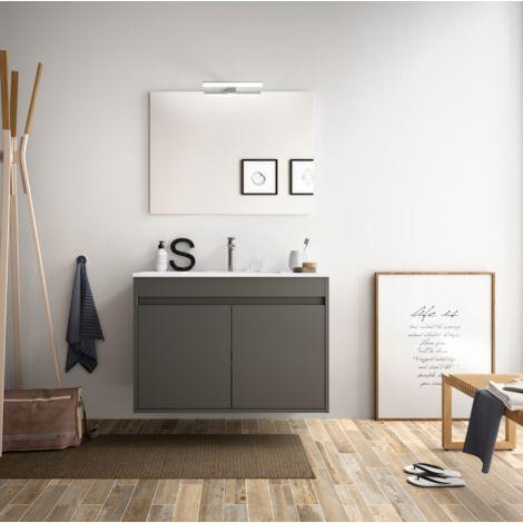 Badezimmer Badmöbel 80 cm aus mattgrauem Holz mit zwei Türen ...