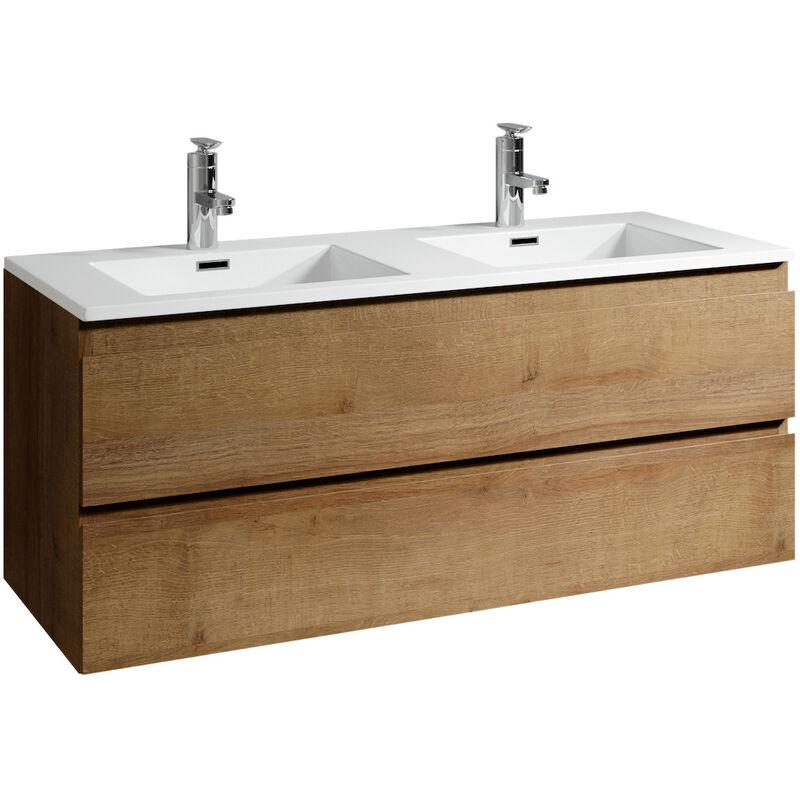 Badezimmer Badmöbel Set Angela 120cm Eiche - Unterschrank Schrank Waschbecken Waschtisch - BADPLAATS