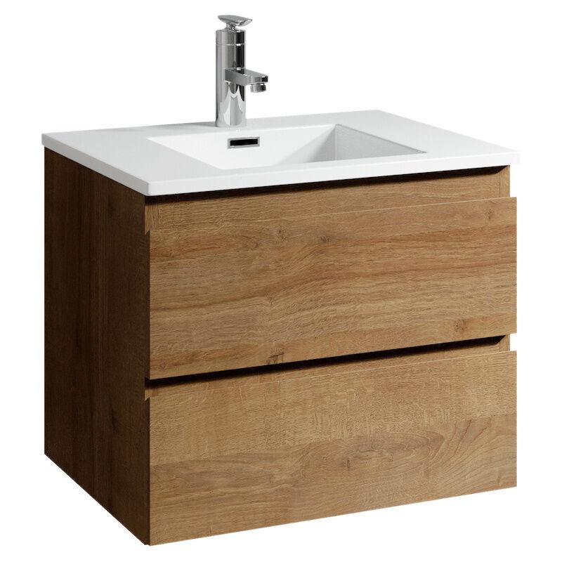 Badezimmer Badmöbel Set Angela 60cm Eiche - Unterschrank Schrank Waschbecken Waschtisch - BADPLAATS