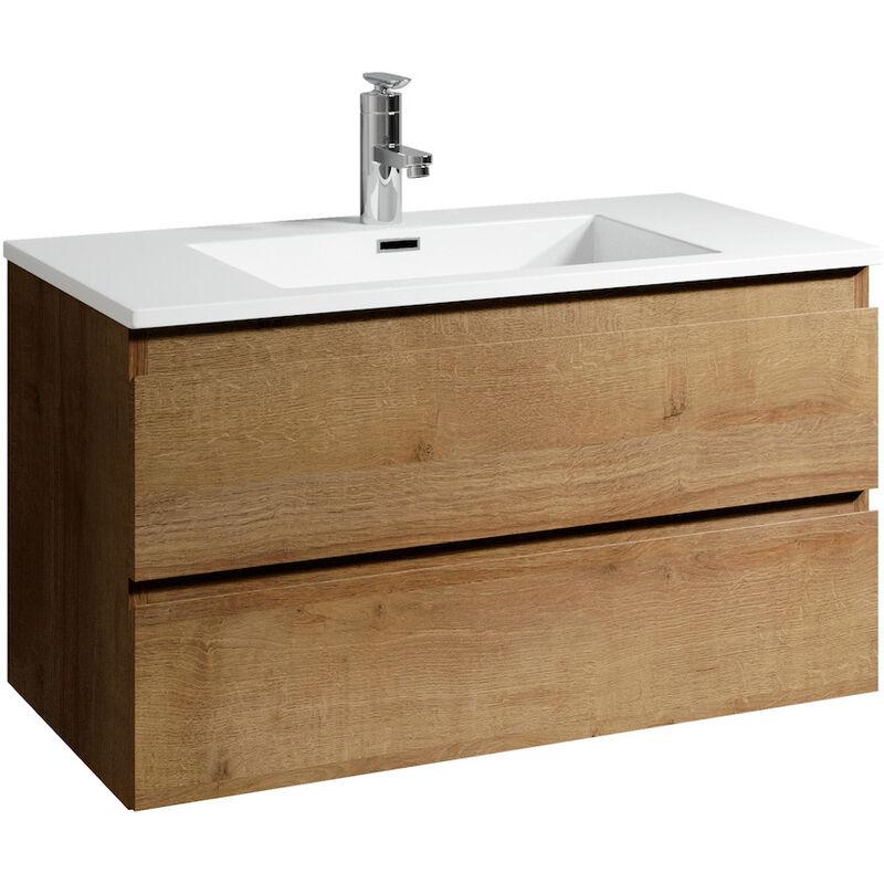 Badezimmer Badmöbel Set Angela 90cm Eiche - Unterschrank Schrank Waschbecken Waschtisch - BADPLAATS