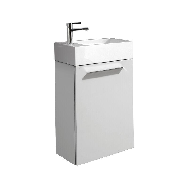 Badezimmer Badmöbel Set Madrid 40x22 cm Hochglanz weiß - Unterschrank Schrank Waschbecken Waschtisch Toilette - BADPLAATS