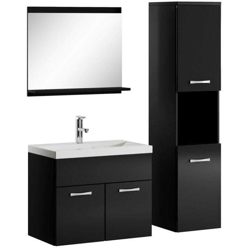Badezimmer Badmöbel Set Montreal 60cm Waschbecken Hochglanz Schwarz Fronten - Unterschrank Hochschrank Waschtisch Möbel - BADPLAATS