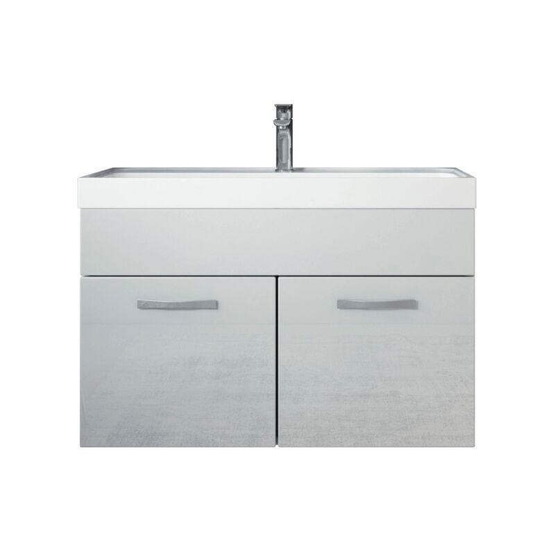 Badezimmer Badmöbel Set Paso 01 80cm Waschbecken Hochglanz Weiß Fronten - Unterschrank Schrank Waschbecken Waschtisch - BADPLAATS
