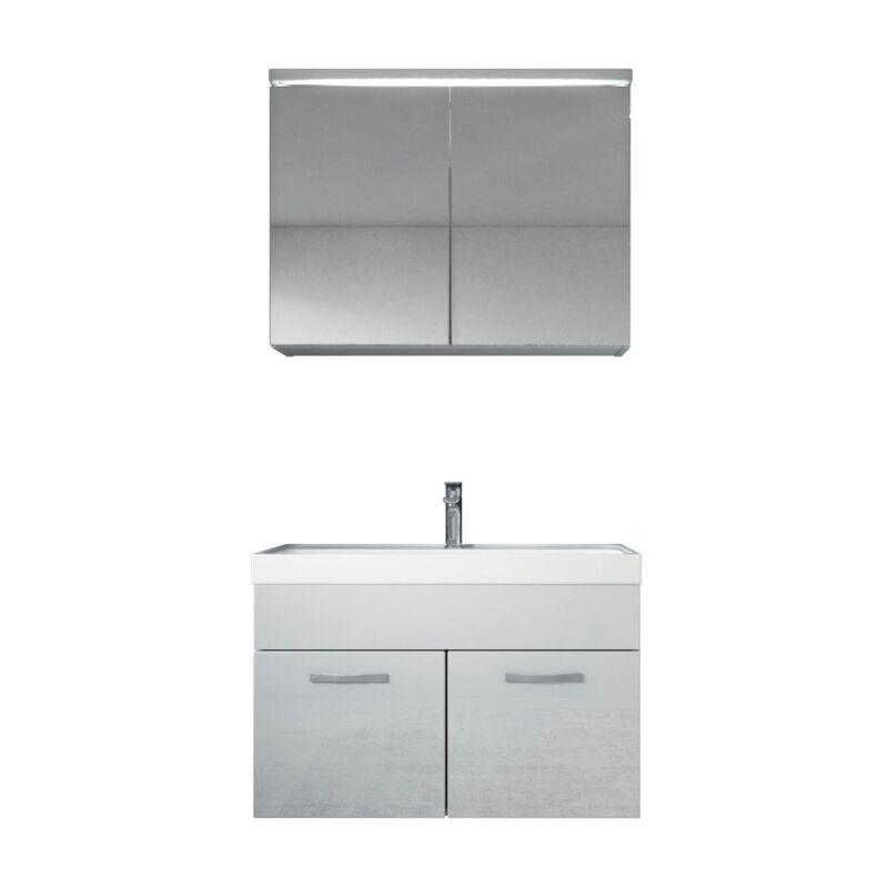 Badezimmer Badmöbel Set Paso 02 80cm Waschbecken weiß hochglanz - Unterschrank Schrank Waschbecken Spiegelschrank Schrank - BADPLAATS