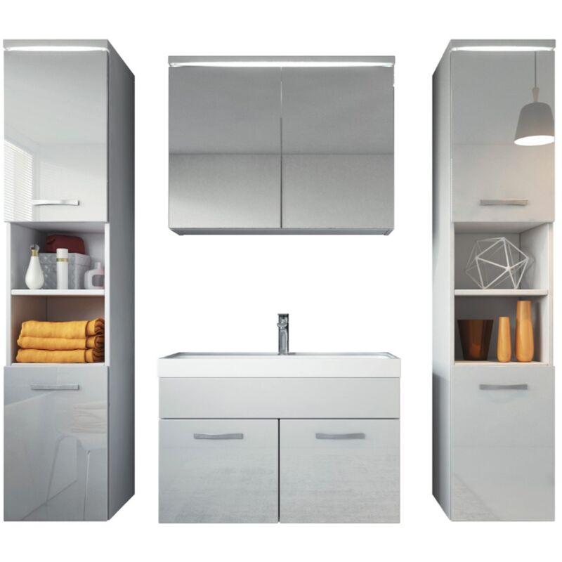 Badezimmer Badmöbel Set Paso xl LED 80cm Waschbecken Hochglanz Weiß Fronten - Unterschrank 2x Hochschrank Waschbecken Möbel - BADPLAATS