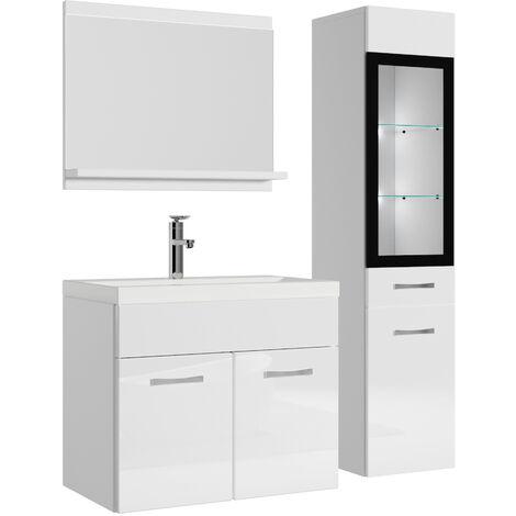 Badezimmer Badmöbel Rio Led 60 Cm Waschbecken Hochglanz Weiß Fronten