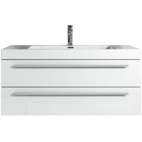 Badezimmer Badmöbel Rome 100 Cm Hochglanz Weiß Unterschrank