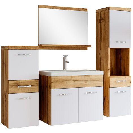 Badezimmer Badmöbel Set Alba 60cm Waschbecken Wotan mit Weiß - Unterschrank Hochschrank Waschtisch Möbel