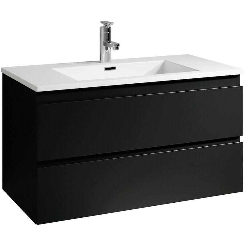 Badezimmer Badmöbel Set Angela 100cm Schwarz - Unterschrank Schrank Waschbecken Waschtisch - BADPLAATS