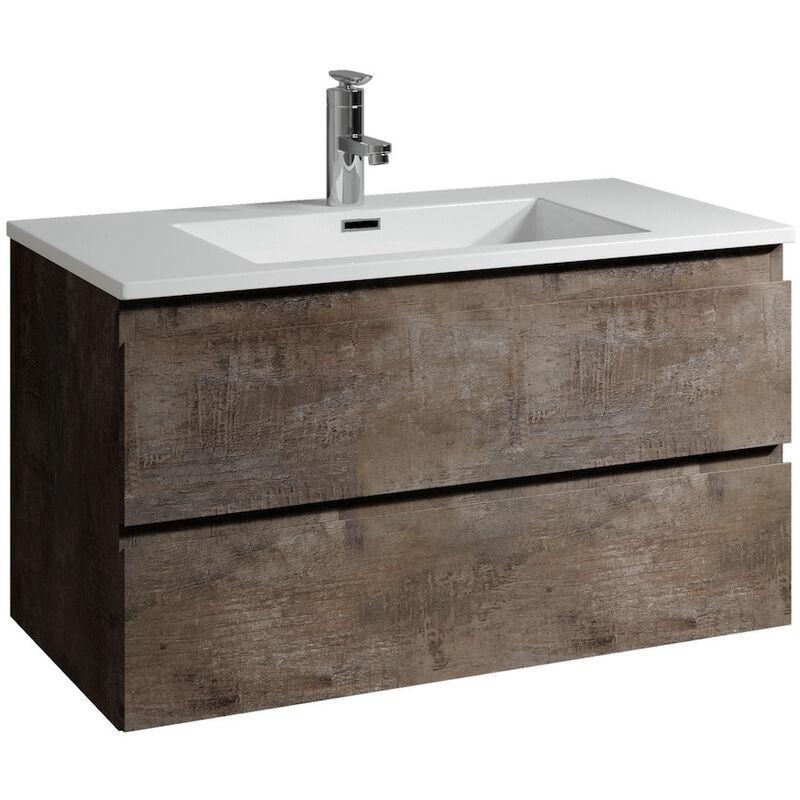 Badezimmer Badmöbel Set Angela 100cm Stone ash - Unterschrank Schrank Waschbecken Waschtisch - BADPLAATS