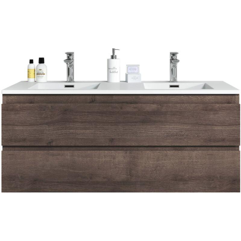 Badezimmer Badmöbel Set Angela 120cm Braun eiche - Unterschrank Schrank Waschbecken Waschtisch - BADPLAATS