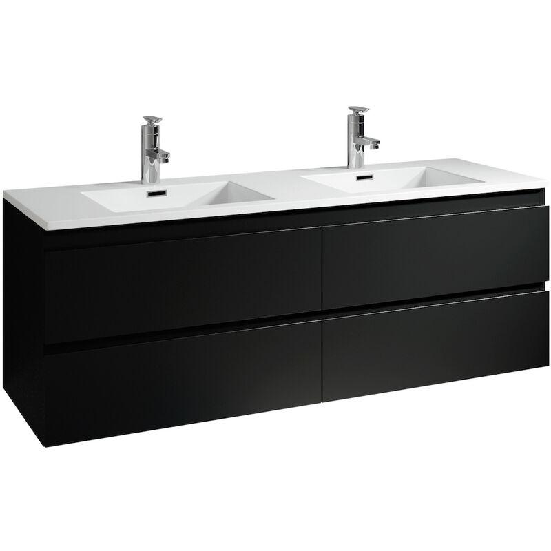 Badezimmer Badmöbel Set Angela 140cm Schwarz - Unterschrank Schrank Waschbecken Waschtisch - BADPLAATS
