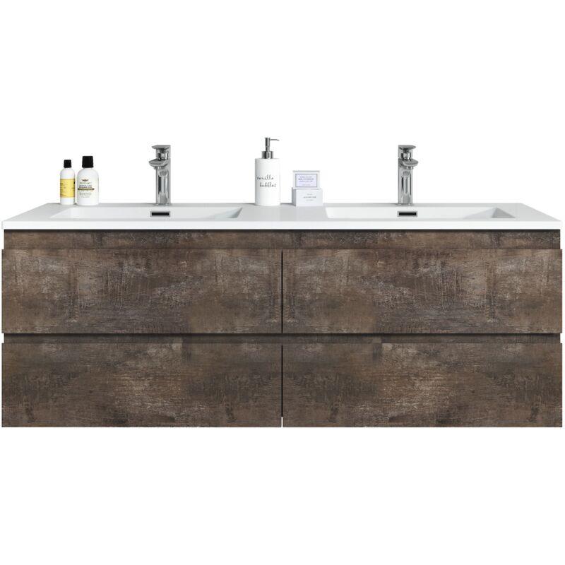 Badezimmer Badmöbel Set Angela 140cm Stone ash - Unterschrank Schrank Waschbecken Waschtisch - BADPLAATS