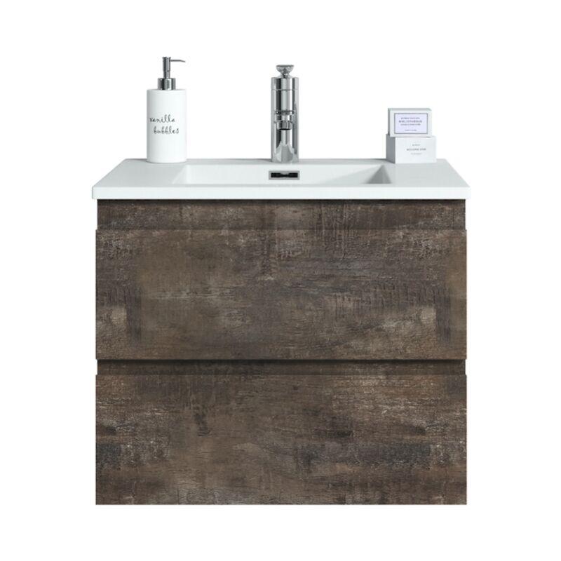 Badezimmer Badmöbel Set Angela 60cm Stone ash - Unterschrank Schrank Waschbecken Waschtisch - BADPLAATS