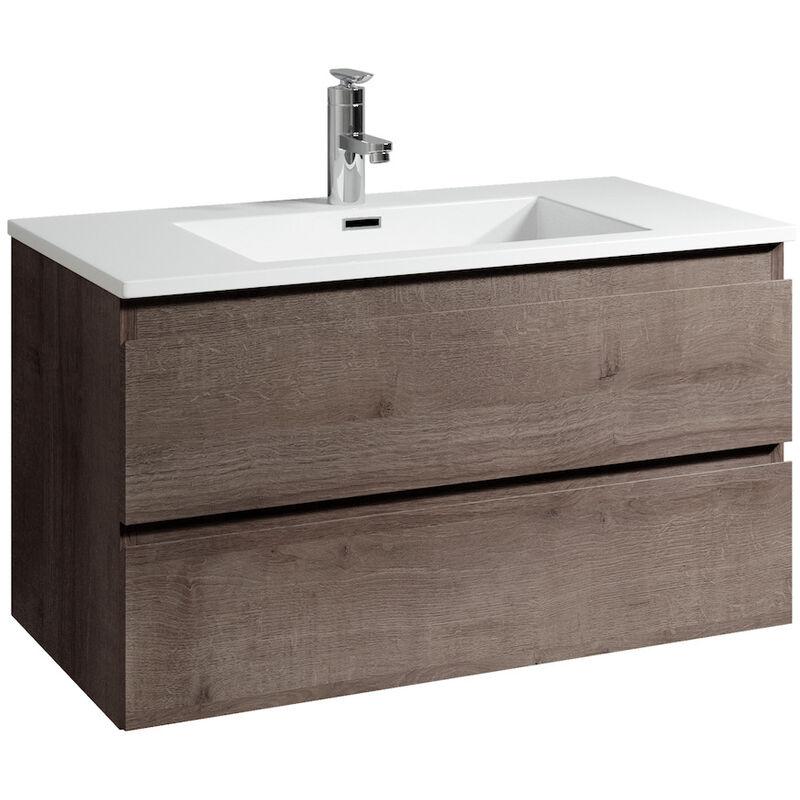 Badezimmer Badmöbel Set Angela 80cm Braun eiche - Unterschrank Schrank Waschbecken Waschtisch - BADPLAATS