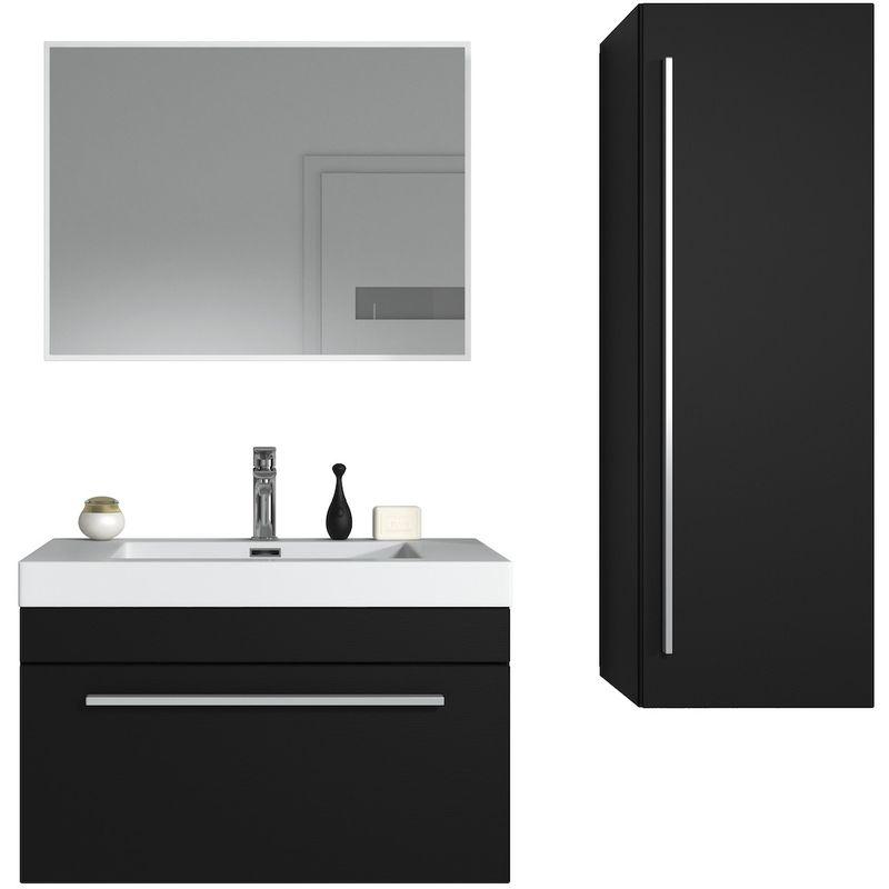 Badezimmer Badmöbel Set Avalon 80cm Schwarzes Holz - Unterschrank  Hochschrank Waschbecken Spiegel