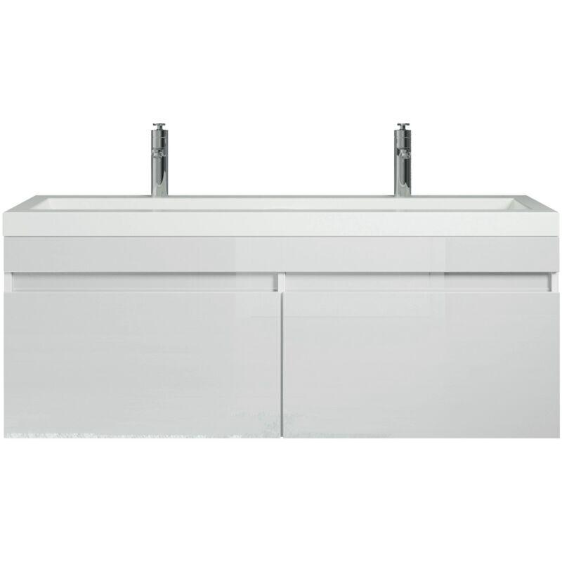 Badezimmer Badmöbel Set Avellino 120 Cm Hochglanz Weiß Unterschrank Schrank Waschbecken Waschtisch