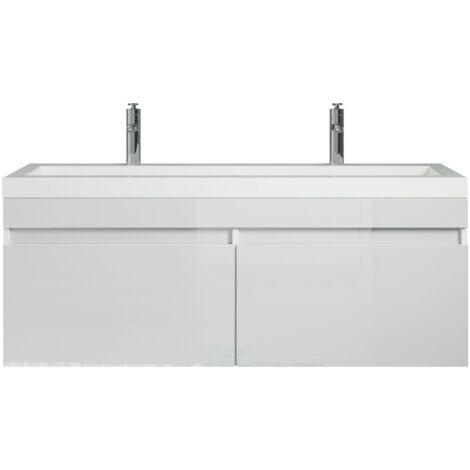 Badezimmer Badmöbel Set Avellino 120cm eiche dunkel - Unterschrank Schrank Waschbecken Waschtisch