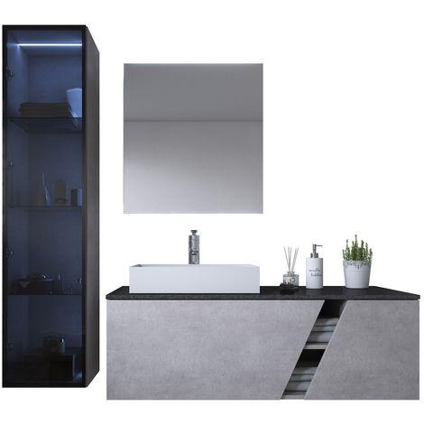 Badezimmer Badmöbel Set Brisbane 120cm Grau - Unterschrank ...