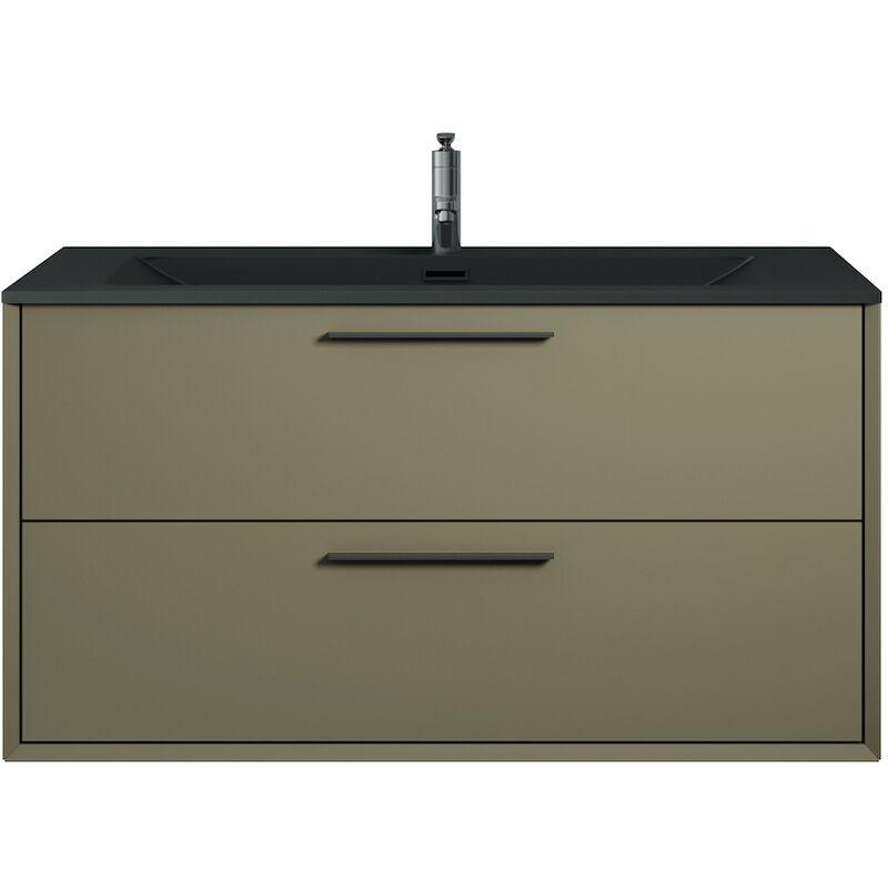 Badplaats - Badezimmer Badmöbel Set Colon 90cm Grau - Unterschrank Schrank Waschbecken Waschtisch