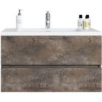 Badezimmer Badmöbel Set Coni 90cm Ash Stone Unterschrank Schrank Waschbecken