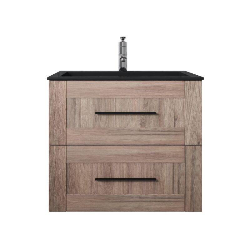 Badezimmer Badmöbel Set Idaho 60cm Eiche mit Waschtisch schwarz - Unterschrank Schrank Waschbecken Waschtisch - BADPLAATS