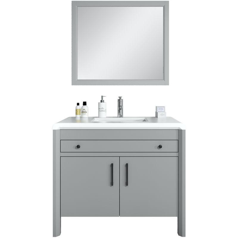 Badezimmer Badmöbel Set Jura 100cm Grau - Unterschrank Schrank Waschbecken Waschtisch Spiegel - BADPLAATS