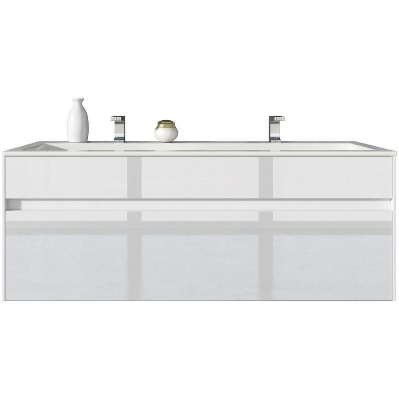 Badezimmer Badmöbel Set Lyon 120cm Hochglanz Weiß - Unterschrank Schrank  Waschbecken Waschtisch