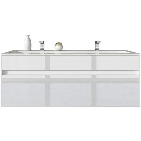 Badezimmer Badmöbel Set Lyon 120cm Hochglanz Weiß ...
