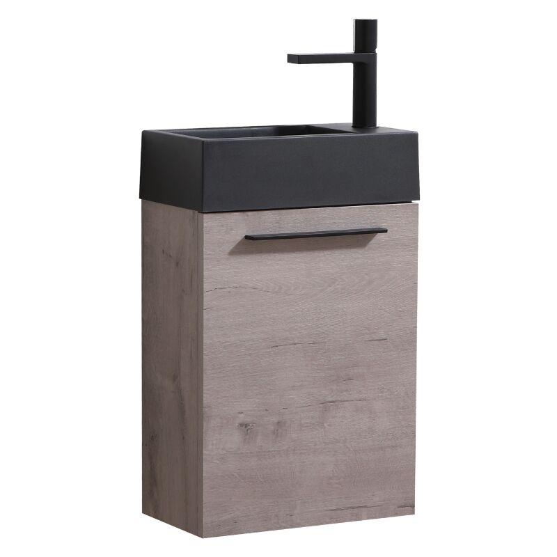 Badezimmer Badmöbel Set Madrid 40x22 cm Grau Eiche mit schwarzes Waschbecken - Unterschrank Schrank Waschtisch Toilette - BADPLAATS
