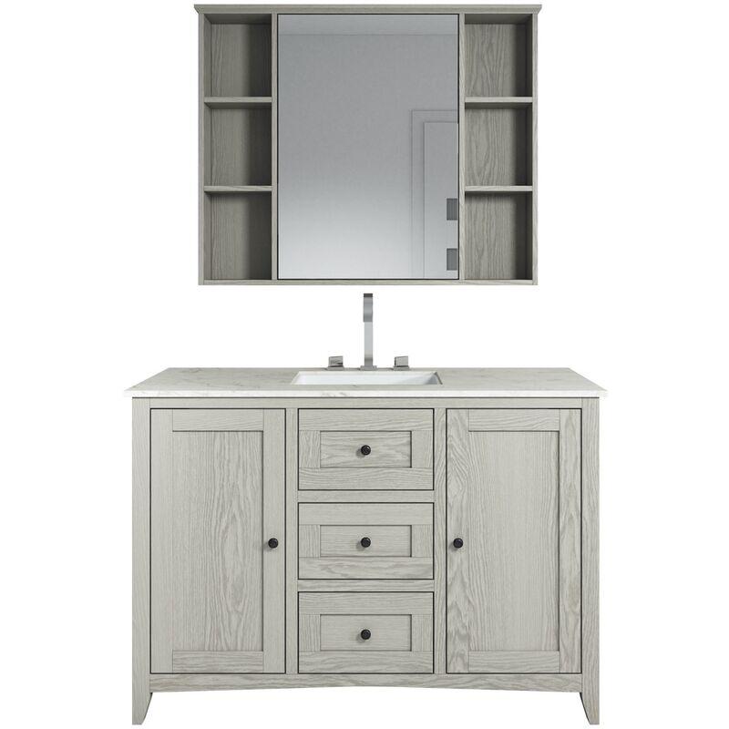 Badezimmer Badmöbel Set Makalu 120cm Braun - Unterschrank Schrank Waschbecken Waschtisch Spiegelschrank - BADPLAATS