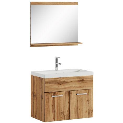 Badezimmer Badmöbel Set Montreal 02 60cm Waschbecken Braun - Unterschrank Waschtisch Spiegel Möbel