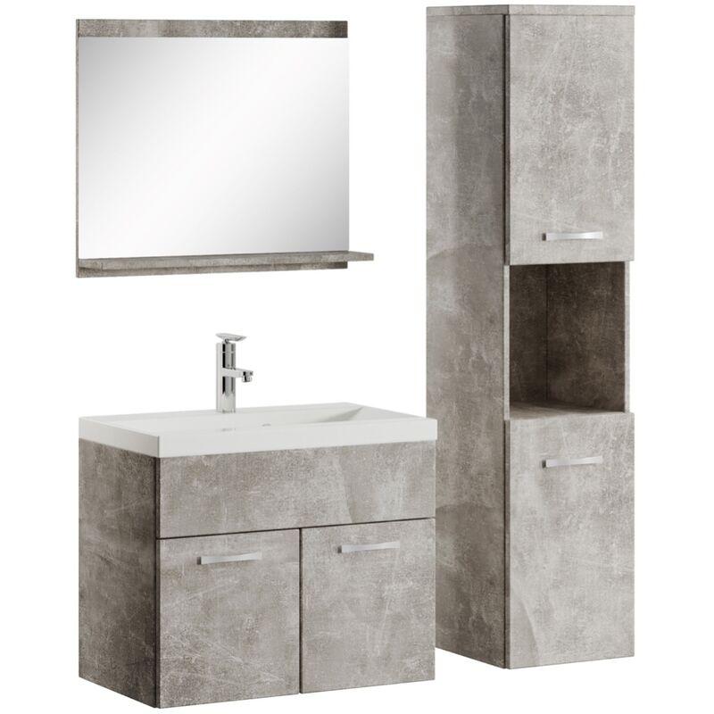 Waschtisch 60 cm Badmöbel Set Unterschrank Waschbecken graue Walnuss