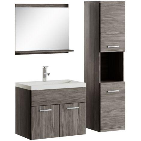Badezimmer Badmöbel Set Montreal 60cm Waschbecken Bodega - Unterschrank Hochschrank Waschtisch Möbel