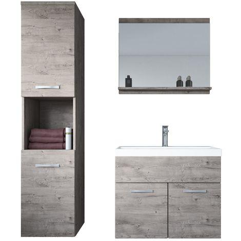 Badezimmer Badmöbel Set Montreal 60cm Waschbecken Ribbeck Grau- Unterschrank Hochschrank Waschtisch Möbel