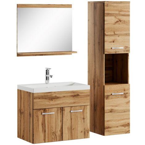 Badezimmer Badmöbel Set Montreal 60cm Waschbecken Wotan (Braun) - Unterschrank Hochschrank Waschtisch Möbel