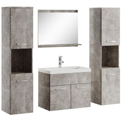 Badezimmer Badmöbel Set Montreal xl 60cm Waschbecken Beton Grau - Unterschrank Hochschrank Waschtisch Möbel