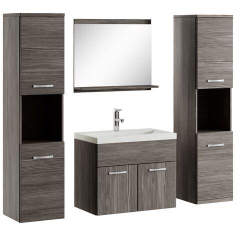Badezimmer Badmöbel Set Montreal xl 60cm Waschbecken Bodega - Unterschrank Hochschrank Waschtisch Möbel