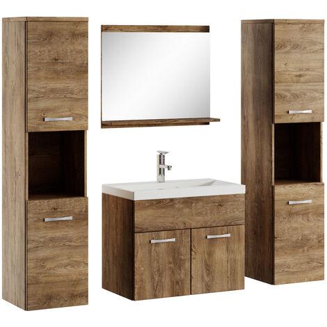 Badezimmer Badmöbel Set Montreal xl 60cm Waschbecken Lefkas - Unterschrank Hochschrank Waschtisch Möbel