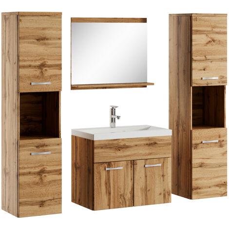Badezimmer Badmöbel Set Montreal xl 60cm Waschbecken Wotan (Braun) - Unterschrank Hochschrank Waschtisch Möbel
