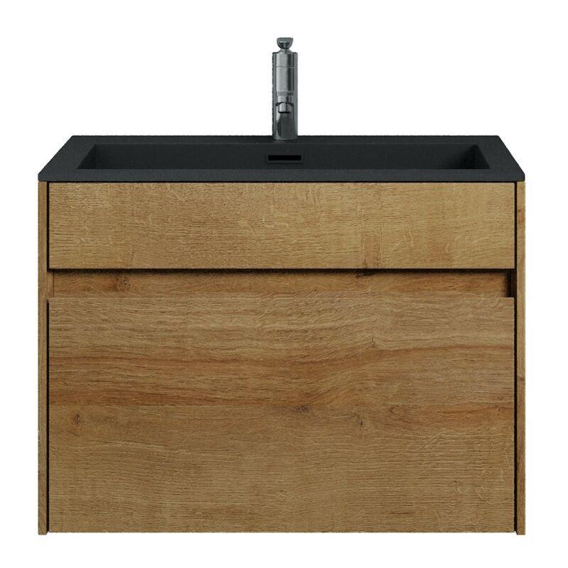 Badezimmer Badmöbel Set Ontario 60cm Bamboo mit Schwarz - Unterschrank Schrank Waschbecken Waschtisch - BADPLAATS