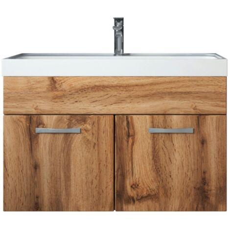 Badezimmer Badmöbel Set Paso 01 80cm Waschbecken Wotan (braun) - Unterschrank Schrank Waschbecken Waschtisch
