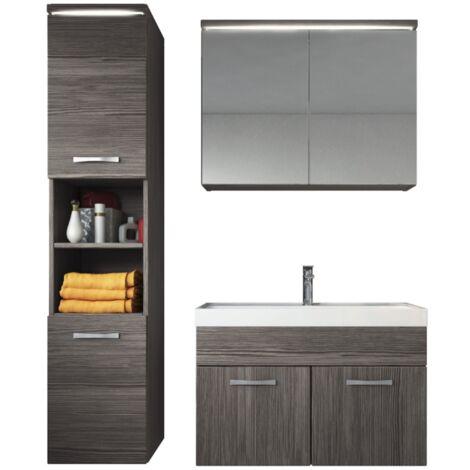 Badezimmer Badmöbel Set Paso LED 80cm Waschbecken Bodega (Grau) - Unterschrank Hochschrank Waschbecken Spiegelschrank