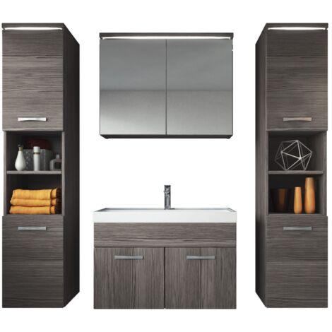 Badezimmer Badmöbel Set Paso xl LED 80cm Waschbecken Bodega (grau) - Unterschrank 2x Hochschrank Waschbecken Möbel