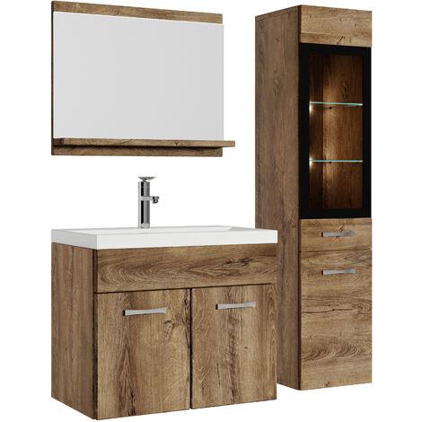 Badezimmer Badmöbel Set Rio LED 60 cm Waschbecken Lefkas (Braun) -  Unterschrank Hochschrank Waschtisch Möbel