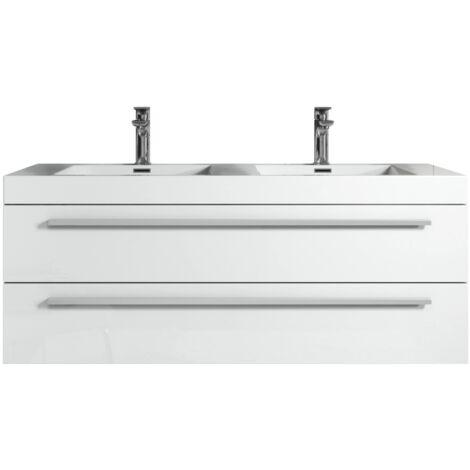 Badezimmer Badmöbel Set Rome 120 Cm Hochglanz Weiß Unterschrank